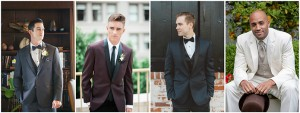 Different Colored Tuxedos in Charcoal, Burgundy, Navy, and Ivory
