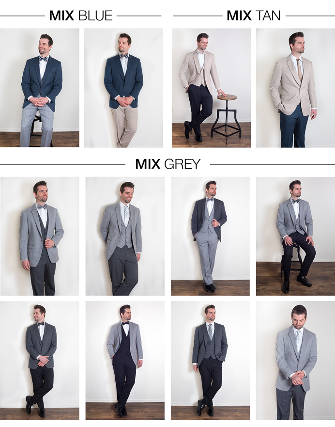 Mix and Match menswear suits.  Blue coat with grey pants, blue coat with tan pants, tan coat with black pants, tan coat with blue pants, charcoal coat with heather grey pants