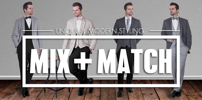 Mix and Match coat and pants colors for your groom and groomsmen. Allure Collection Suits, Mix tan coat and black pants, grey coat and black pants, tan coat and blue pants