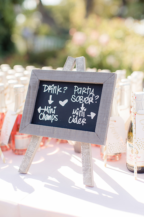 Summer outdoor wedding at south coast botanic gardens blush pink table linen with drinks mini champagne and cider glasses with black and white chalkboard sign decor