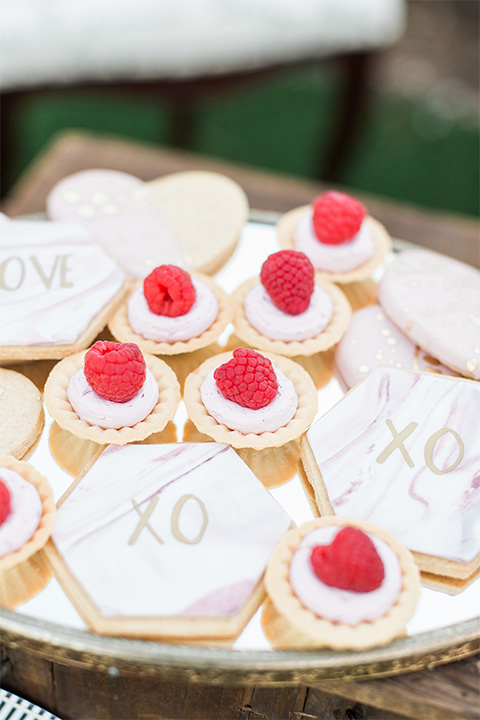 Los angeles valentine theme wedding shoot at the gardens at los robles vintage red and white lounge furniture with table and flower deocr and white and gold place settings with gold silverware and cookies with fruit and xo design