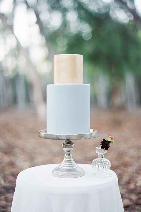 Into the woods outdoor romantic wedding shoot two tier wedding cake light blue bottom tier with gold top tier on silver stand and white table linen with white and purple flower decor wedding photo idea for cake