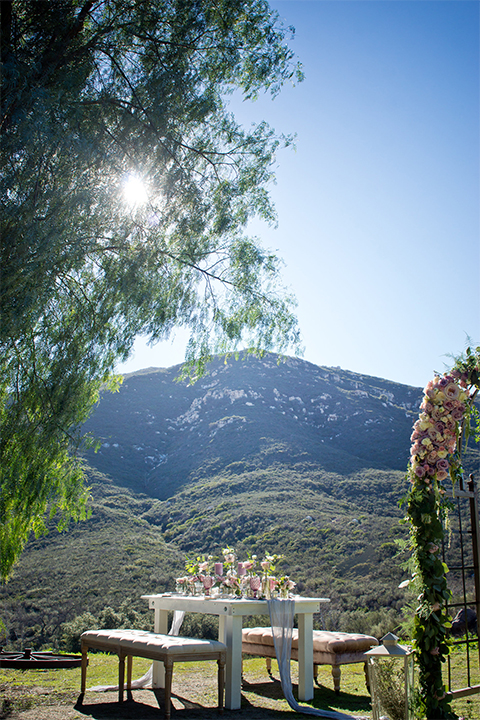 San diego outdoor woodland wedding shoot table set up white wood table with vintage decor and blush pink glassware with white and green flower centerpiece decor with white vintage benches and white place settings