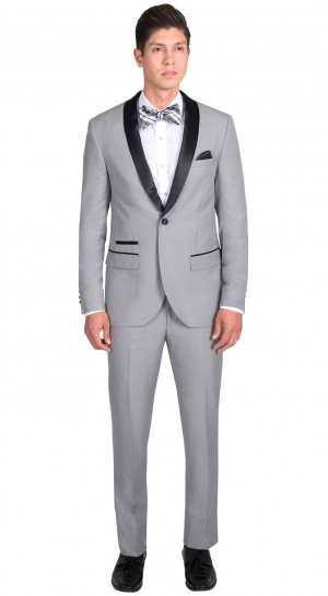 Light Grey Tuxedo with Black Shawl