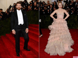 Tail coats with a white pique vest and bow tie, met gala, New York, white tie event, Metropolitan museum, bradley cooper and suki waterhouse