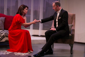 Black carrera tuxedo, slim fit, San Diego play, regrets only, paul Rudnick, manhattan play, production, marriage, wedding, melodrama, diversionary theatre, holding hands