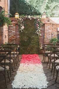 Carondelet House Wedding Ceremony Pink Ombre Aisle