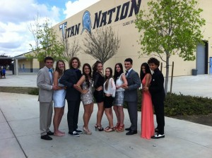 Prom Fashion show with grey suits and coral dresses, 2016 prom trends