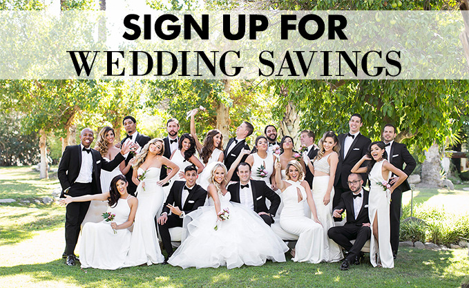Sign Up for wedding savings on groom and groomsmen suit and tuxedos