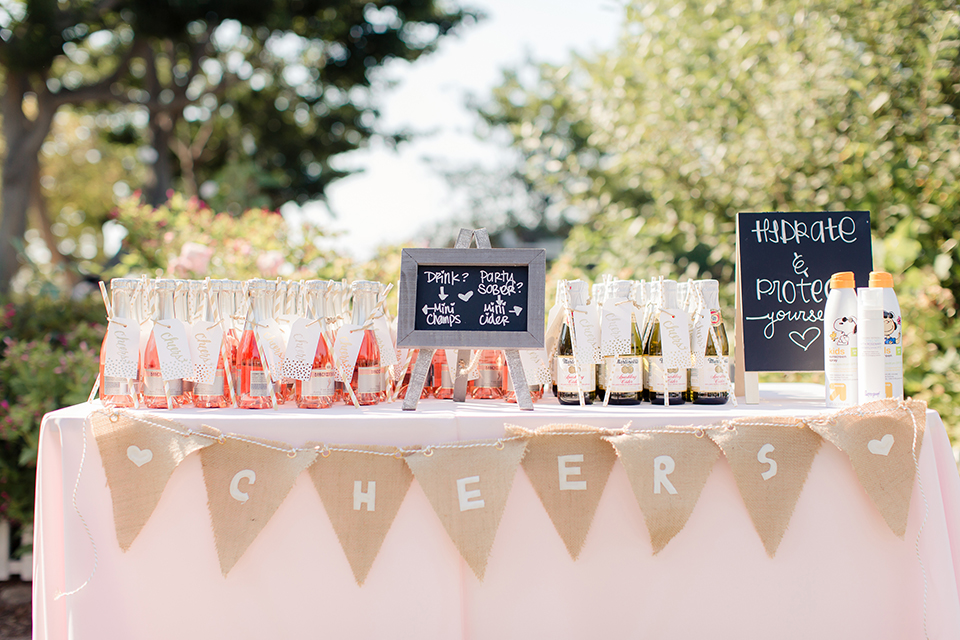 Summer outdoor wedding at south coast botanic gardens blush pink table linen with drinks mini champagne and cider glasses with black and white chalkboard sign decor with tan cheers flag banner