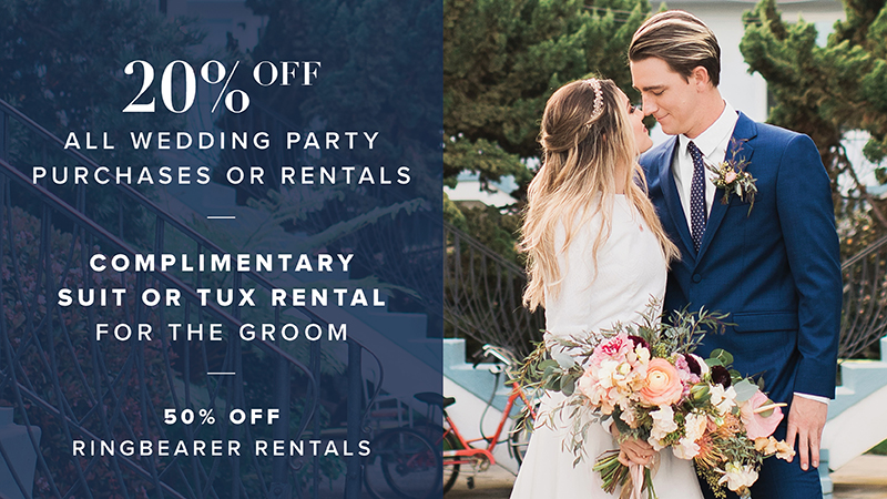 20% off all wedding party purchases or rentals
